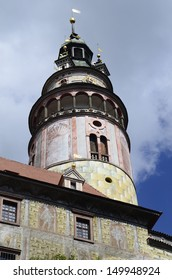 Cesky Krumlov, Czech Republic, tower of castle Krumlov with sgraffito decorated facade in the Unesco World Heritage site in Bohemia