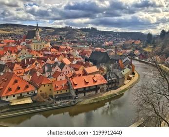 Cesky Krumlov ,Czech Republic,old town,blue sky