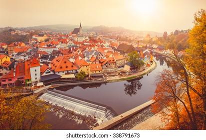 Cesky Krumlov river Vltava autumn Czech Republic. Illustration