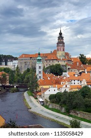 Cesky Krumlov  and sky with stormy clouds, Czech Republic
