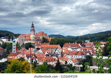Cesky Krumlov with stormy clouds, Czech Republic