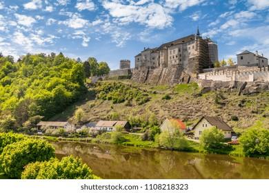Cesky Sternberk Castle with blue sky in Bohemia, Czech republic