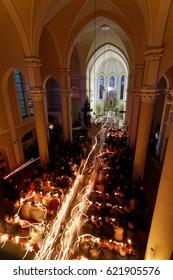 CESKY TESIN, CZECH REPUBLIC – APRIL 15, 2017: Easter vigil mass on Holy Saturday in the Roman Catholic Church. The Liturgy of Light.