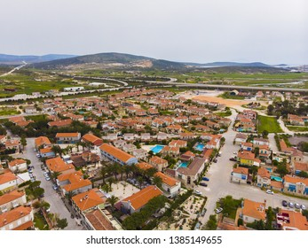 Cesme, Izmir / TURKEY - April 23 2019 : Aerial view of Cesme Alacati taken by drone