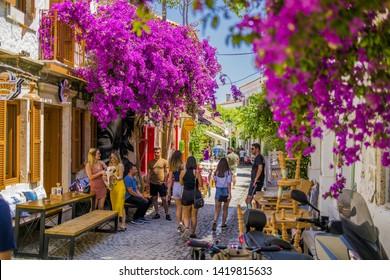 Cesme, Izmir / TURKEY - June 03 2019 : Streets Alacati