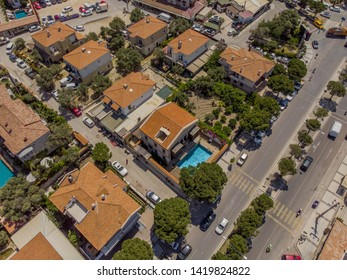 Cesme, Izmir / TURKEY - June 03 2019 : Aerial view of Alacati  - Cesme  taken by drone