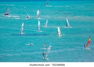 CESME -TURKEY - JULY 29, 2012: Windsurfers in alacati, Unidentified of windsurfing sailor on training session for participate in Cesme of sports