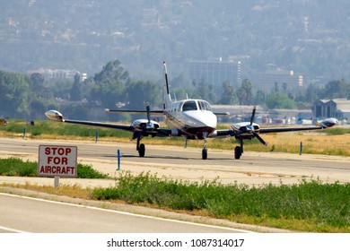 Cessna 340 Is Taxiing For A Take Off In Van Nuys Airport, California