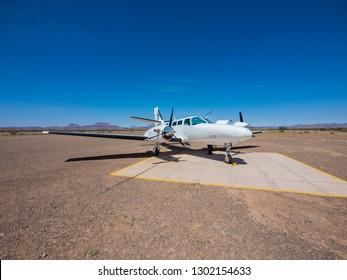 Cessna 406 Caravan II on an airstrip in Damaraland, Namibia, Mar 2015