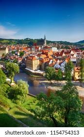 Cestky Krumlov city as nice view from castle tower