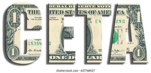 CETA - Comprehensive European Trade Agreement. US Dollar texture.