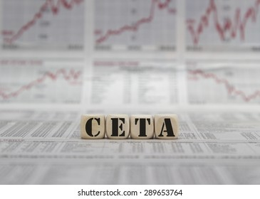 CETA word built with letter cubes