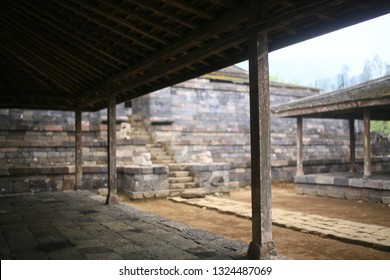 cetho temple, central java / indonesia - october 28. 2014 :   joglo in the cetho temple area