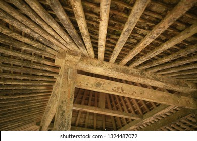 cetho temple, central java / indonesia - october 28. 2014 :  the wooden frame for the joglo roof in the cetho temple area