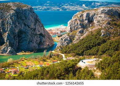 Cetina river canyon and mouth in Omis view from above, Dalmatia region of Croatia