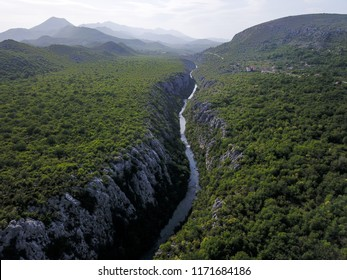 The Cetina River is entrenched into one of the deepest and narrowest canyons in the world. It is positioned in the central Dalmatia, Croatia, close to Omiš.