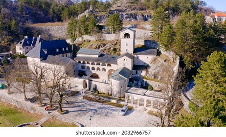 Cetinje monastery in Montenegro - aerial view of old medieval stone orthodox Christian church tower and religious worship place. - Shutterstock ID 2032966757