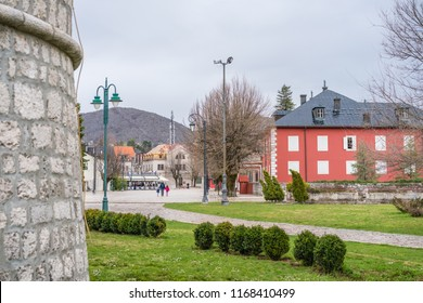 Cetinje, Montenegro - April 2018 : View of the Cetinje town, the first capital of Montenegro