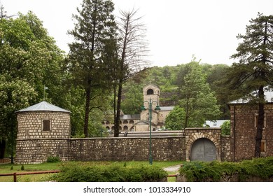 CETINJE, MONTENEGRO, MAY 15, 2010: Orthodox Monastery of the Nativity of the Blessed Virgin founded in 1484 by Ivan Chernovich, landmark