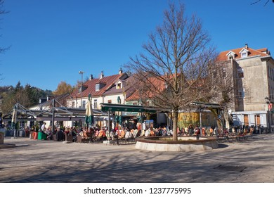 Cetinje, Montenegro, November 13, 2018, The main square in the former royal capital, built circa 1900s.  Wide angle on a sunny fall morning.
