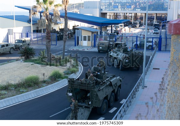 Ceuta, Spain; May 18 2021: Military presence on the Ceuta border due to the arrival of immigrants