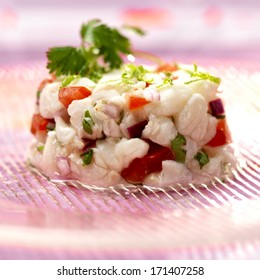 Ceviche fish tartare with vegetables