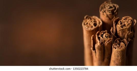 Ceylon cinnamon sticks close up. Healthy concept banner.