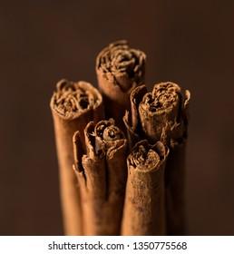 Ceylon cinnamon sticks close up. Healthy concept.