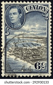 CEYLON-CIRCA 1937:A stamp printed in CEYLON shows image of The Colombo Harbour (known as Port of Kolomtota) is the largest and busiest port in Sri Lanka, circa 1937.
