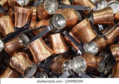 Cezve backraund, copper turka, the production handmade,