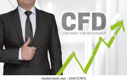 CFD concept and businessman with thumbs up.