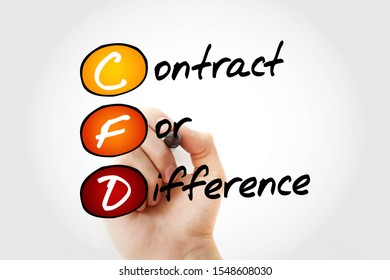 CFD – Contract For Difference acronym with marker, business concept background