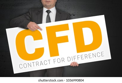 CFD poster is held by businessman.
