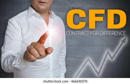cfd touchscreen is operated by man concept.