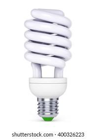 CFL energy saving bulb. Fluorescent lamp isolated on white background. 3D illustration