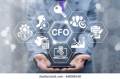 CFO - Chief Financial Officer business concept. Leadership, mobile internet technology, finance, strategy office work. Businessman offers smart phone with CFO icon on virtual screen.