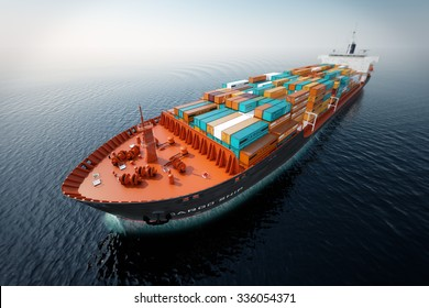 CG Aerial shot of container ship in ocean.
