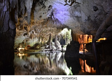 CHAAK TUN CENOTE, PLAYA DEL CARMEN, MEXICO - AUG 6TH, 2017: Mayan cenote of Chaak Tun, in Playa del Carmen, Mexico, on Aug 6th, 2017