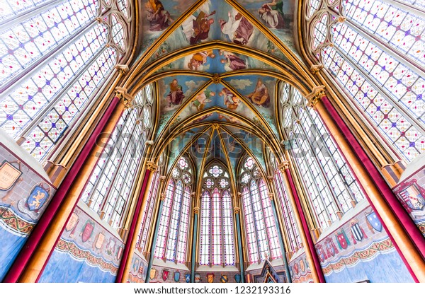 CHAALIS, FRANCE, JULY 24, 2016 : stained glass and frescoes by Primatice, Chaalis chapel, july 24, 2016 in Chaalis, France