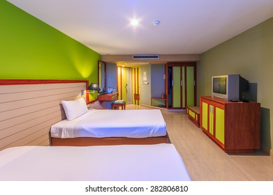 CHA-AM, THAILAND - MAY 20 : Guest room of Long Beach Hotel on May 20, 2015 in Cha-am, Thailand. The hotel consist of 193 rooms and suites, viewing mountain, pool or sea views.