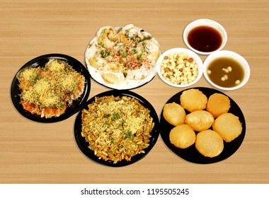 chaat pani puri sev puri dahi puri bhel puri served in one