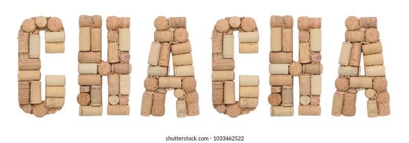 Chacha made of wine corks Isolated on white background