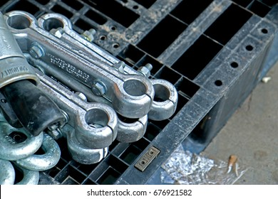 CHACHEANGSAO-THAILAND-JUNE 20 : Steel hardware for fitting electrical cable with steel tower in transmission line on June 20, 2015 Chacheangsao Province, Thailand