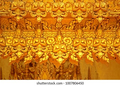 CHACHEANGSOW-THAILAND-JULY 25 : Traditional Thai style golden stucco architecture in the temple, July 25, 2015 Chacheangsow Province, Thailand