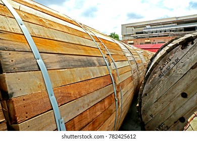 CHACHEANGSOW-THAILAND-JULY 28 : Old wooden reel of electrical power cable at store, July 28, 2016, Chacheangsow Province, Thailand.