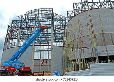 CHACHEANGSOW-THAILAND-JULY 28 : Steel struckture of building & crane for construction, July 28, 2016 Chacheangsow Province, Thailand