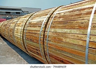 CHACHEANGSOW-THAILAND-MAY 24 : The wooden reels of electrical power cable on the yard of factory, May 24, 2016 Cheangsow Province, Thailand