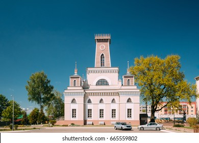 Chachersk, Gomel Region, Belarus. Famous Landmark - Old City Hall In Sunny Summer Day In Chechersk. Town Hall
