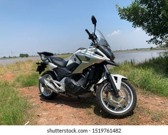 Chachoengsao province,Thailand. September 29, 2019 : Motorbike big bike Honda NC750X, 2017 Year. Used as vehicle in the trip to the travel.