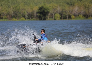 Chachoengsao Province,Thailand.December 22, 2017 Jet ski training to go to the 2020 Olympics.